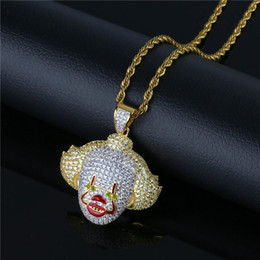 Chain Sawing Australia - Zircon Saw Clown Pendant Necklace Men Hip Hop CZ Iced Out Gold Silver Necklace For Women Chain Jewelry Party Gfit
