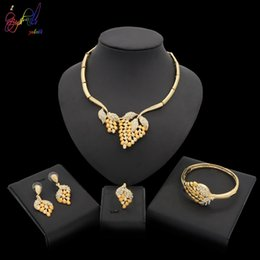 $enCountryForm.capitalKeyWord Australia - Yulaili African Bridal Wedding Jewelry Leaf Fruit Crystal Gold Gold-color Silver Necklaces Earrings Fashion Jewelry Sets Free Shipping