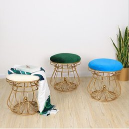 bedroom stools NZ - Dressing Chair Iron Golden Nail Shop Cosmetic Chair Creative Crown-shaped Round stool Nordic Simple Bedroom Dressing Chair