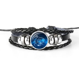 Gem Men Australia - Hot 12 Constellations Zodiac Leo Time Gem Glass Cabochon Bracelet for Women Men Genuine Leather Rope Beaded Jewelry Vintage Male Accessories