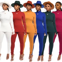 White cotton turtle neck online shopping - 2019 HISIMPLE New Autumn Winter Women s Set Tracksuits Turtleneck Solid Long Sleeve Top Leggings Pants Two Piece Sets Casual Sporty ourfits