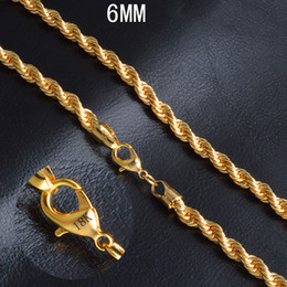 $enCountryForm.capitalKeyWord Australia - 18K Gold Plated Rope Chains 6mm 18K Stamped Twist Rope Hip Hop Necklaces for Men Women Fashion Jewelry with Lobster Clasps 20 Inches