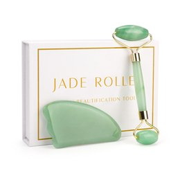 Skin Care Massager Set Australia - Rose Quartz Roller Slimming Face Massager Lifting Tool Natural Jade Facial Roller Stone Skin Beauty Care Set for Birthday Gift