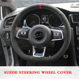 Discount vw golf r wheels For Volkswagen Golf 7 Golf R MK7 VW Polo GTI Scirocco 2015 2016 Hand-stitched Anti-Slip Black Suede DIY Steering Wheel Cover