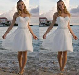 $enCountryForm.capitalKeyWord NZ - 2019 New High Quality Sweetheart Rhinestone Tulle Short Casual Beach Wedding Dresses Bridal Gown Free Shipping