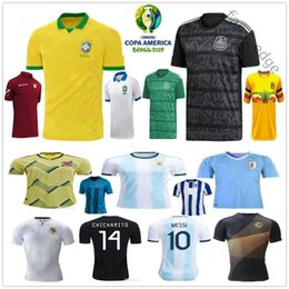ArgentinA AwAy soccer online shopping - 2019 Copa America Soccer Jerseys Argentina Messi Brasil Colombians James Mexico Honduras Uruguay L Suarez Customize Home Away Football Shirt