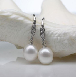 $enCountryForm.capitalKeyWord UK - Women Gift word Love Free shipping HOT PERFECT SOUTH SEA GENUINE 10-12MM WHITE LOOSE PEARL EARRING