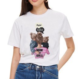 Wholesale Little Girl Tees Shirts Australia - Mom and Two Little Girls Tee Shirt Femme Kawaii Harajuku Aesthetic T Shirt Summer Women Clothes 2019 Mother's Love White T-Shirt