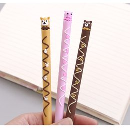 Stationery Australia - 24 pcs Lovely Chocolate gel pen 0.5mm Black color ink writing pens Cute bear panda dog Stationery Office School supplies