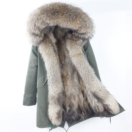 women parka camouflage 2019 - 2018 Brand New Real Raccoon Fur Parka Women Long Coat Hood Black Camouflage Thick Warm Fur Jackets Two In One Detachable