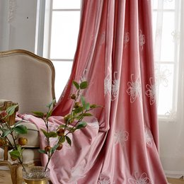 pink curtain fabric NZ - Falling English curtain fabric modern pastoral Chinese curtains Italian velvet exquisite embroidery shading pink and romantic lavender work