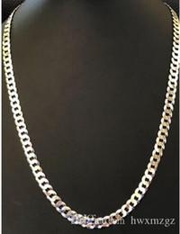 Cuban Chain 7mm Australia - Men's Shiny 7mm Flat Curb Miami Cuban Chain Solid 925 Silver ITALY MADE