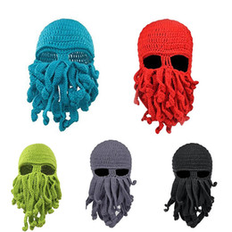 animal face masks Australia - New ON SALE Unisex Octopus Winter Warm Knitted Wool Face Mask Hat Squid Cap Tentacles Beanie Hat 11 colors