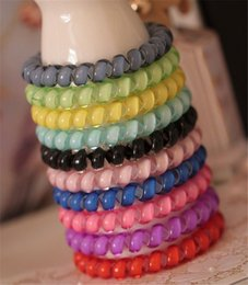 Plastic Princess Australia - Candy Color Telephone Wire Hair Ring Jelly Gum Clear Elastic Hair Bands 6.5cm Plastic Spring Hairband Rubber Hair Ropes Accessories DHL 100p