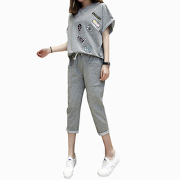 Wholesale M xl Korean Summer Large Size Women Clothing Sporting Sets Female Casual Loose Two Piece Sportswear Suits Womens Tracksuit Y19062601
