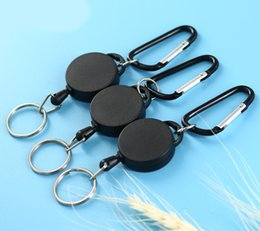 $enCountryForm.capitalKeyWord Australia - Anti-lost Outdoor Carabiner Retractable Badge Holder with Key Ring Heavey Duty Frosted surface For ID Card Keychain Holders Black M444Y
