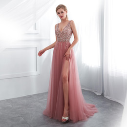 sexy dresses fast shipping Australia - Sexy 2019 Prom Dresses Long V-Neck Beadings FAST SHIPPING High Split Pastel Tulle Women Formal Occasion Wear Evening Gowns A-Line IN STOCK