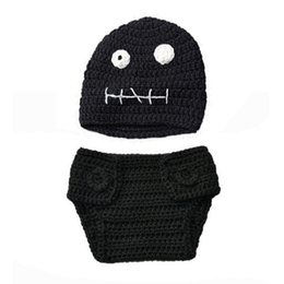 $enCountryForm.capitalKeyWord UK - Cool Newborn Skull Costume,Handmade Crochet Baby Boy Girl Black Ghost Beanie Hat and Diaper Cover Set,Infant Halloween Costume Photo Props