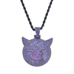 PurPle stone necklace set online shopping - Bling bling Hip Hop Purple evil emoji Pendant Copper Micro Setting CZ stones Necklace Jewelry for men CN047