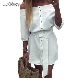 Striped Maxi Dress Blue White Australia - LOSSKY Sexy Off Shoulder Half Sleeve Summer Blue Striped Short Dress Women 2018 Buttons Office White Casual Woman Mini Dresses Y190117
