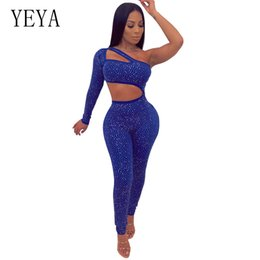 44c790c6f00 YEYA Sexy One Shoulder Cutout Diamond Jumpsuits Women Sparkly Rhinestone  Skinny Rompers Hollow Out Club Party Bodysuit Overalls