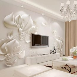 Generous 3d Wallpaper Modern Fashion Relief Magnolia Flower Color Butterfly Photo Wall Mural Living Room Tv Sofa Bedroom Mural Wall Paper Wallpapers