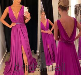 Chiffon lavender online shopping - Backless Chiffon Purple Formal Evening Dresses Elegant V Neck High Side Slit Lace Prom Dresses Cheap Party Dress Custom Robes de soirée