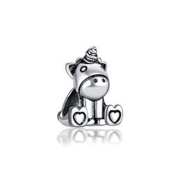Silver unicorn charm online shopping - Start Cute Unicorn Alloy Charm Bead Loose Big Hole Fashion Women Jewelry Stunning European Style For DIY Bracelet Necklace