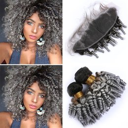$enCountryForm.capitalKeyWord Australia - Two Tone 1B Grey Ombre Funmi Curly Hair Bundles with Frontal Closure Black and Gray Ombre Bouncy Romance Curls Human Hair with Frontals