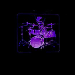 Sir Drum 3d Small Night-Light Telecomando colorato Touch Led Lampada Originalità To Drum Gift Seconda Gram Force 3d Piccola lampada da tavolo in Offerta