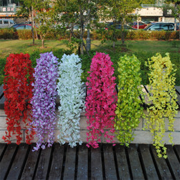 artificial valentines gifts Canada - Artificial Vine Flowers Silk Fake Wisteria Ivy Vine Garden Hanging Flower Plant Home Wedding Party Decor Valentines Day Gift