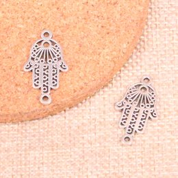 Hamsa Hand silver bracelets online shopping - 204pcs Antique Sliver hamsa hand protection connector Charm Pendant DIY Necklace Bracelet Bangle Findings mm