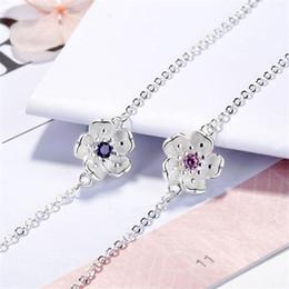 New Beautiful Two Colors Rosa Sakura Fiore 925 Sterling Silver Fashion Jewelry Fresco squisito cristallo Bracciali vegetali B175