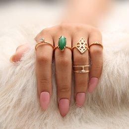 $enCountryForm.capitalKeyWord NZ - 5 Pcs Lot green gemstone ring set factory direct fashion hot new selfdesign boho bohemia retro vintage ring set jewelry for women gift