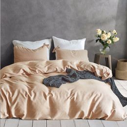 Pure Linen Pillowcases Australia - Modern Pure Color Bedding Set Elegant Bow Ties Duvet Cover Set and Pillowcases 2pcs 3pcs Bed Linen Twin Queen King