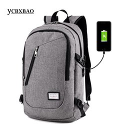 Опт Мужская синий рюкзак опрятный стиль большой емкости USB зарядка Bagpack сумка женская мода школьные сумки рюкзаки;