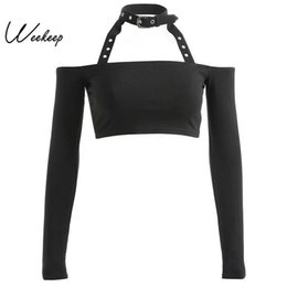 Halter Neck T Shirts Australia - Weekeep Women Black Long Sleeve Halter T Shirt Cropped Streetwear Sexy Slash Neck T-shirt Metal Buckles Knitted Women Tshirt Y19051301