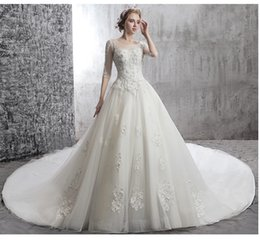 China A-Line White Wedding Dresses Shoulder Sleeve Lace New Spring In The Trailing Three-Dimensional Applique Nail Bead Church Wedding Dresses supplier nail bead wedding dress suppliers