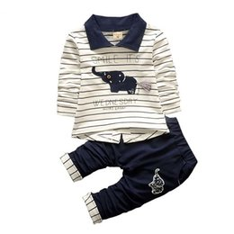 kids elephant top 2019 - good quality Baby Clothing Sets Spring Baby Boys Clothes Set Toddler Cartoon Elephant Striped Tops +Pants Outfits Set Ki