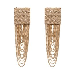 $enCountryForm.capitalKeyWord NZ - Fashion Large Geometric Crystal Dangle Earrings for Women Bohemian Charm Layer Metal Tassel Drop Earrings Party Hanging Jewelry