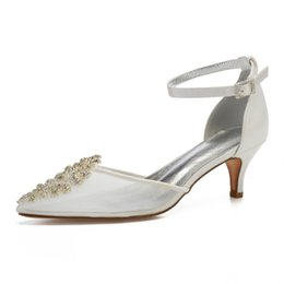 $enCountryForm.capitalKeyWord UK - wholesale see through mesh pointed toe lady shoes ankle strap with crystal lace applique elegant bridal wedding shoes pumps