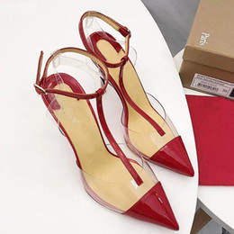 $enCountryForm.capitalKeyWord Australia - Hot Sale-Red Bottom High heels t strap Clear slingback heels pumps Red White Pointed toe high heels transparent heel women summer shoes