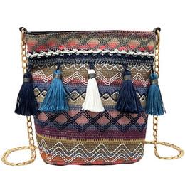 Bucket Handles Wholesale Australia - Vintage Women Weaving Tassel Shoulder Bag Messenger Bag Crossbody Bags Girls Cute Handle Straw Bags