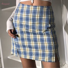 skirts zipper front UK - 2020 New Women Back Zipper Opening Plaid Print Multicolor Skirt With Two Small Front Plaid Sexy Mini Skirts Kawaii V003