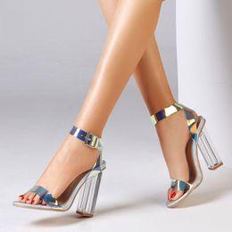 EuropEan high hEEl shoEs online shopping - European Fashion Women s Sandals High Heeled Sandals Girls Dazzling Shoes Lazer Light Dazzle Color Wedding Beach Shoes Summer Spring Shoes