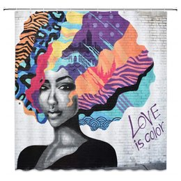 $enCountryForm.capitalKeyWord Canada - DIY Unique Beautiful African Lady Shower Curtain Decor with Colorful Afro Hair Orange Pink Purple Yellow Blue Black