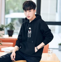 grey sweater hoodie men 2019 - Hoodies autumn and winter men's cotton youth students cartoon printing outdoor sports sweater wholesale discount gr