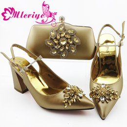 gold color match NZ - Fashion African Shoes And Bags Matching Set Italian Rhinestone High Heels gold color Shoes And Bag For Party
