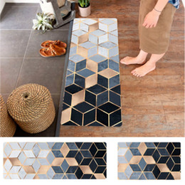 pvc kitchen carpet Canada - Nordic Geometric Carpets PVC Leather Floor Mats Large Floor Carpets Doormats Bedroom Tatami Waterproof Oilproof Kitchen Rugs Y200527