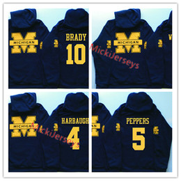 Mens NCAA Michigan Wolverines Tom Brady Hoody Charles Woodson Jabrill Peppers Desmond Howard Jim Harbaugh Michigan Wolverines Hoodies in Offerta